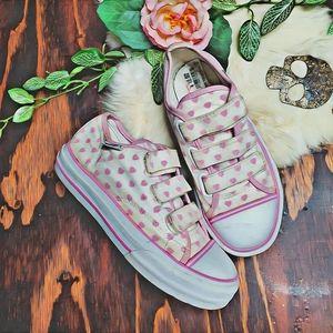 Vans Rare Girls Velcro Sneakers White Pink Hearts